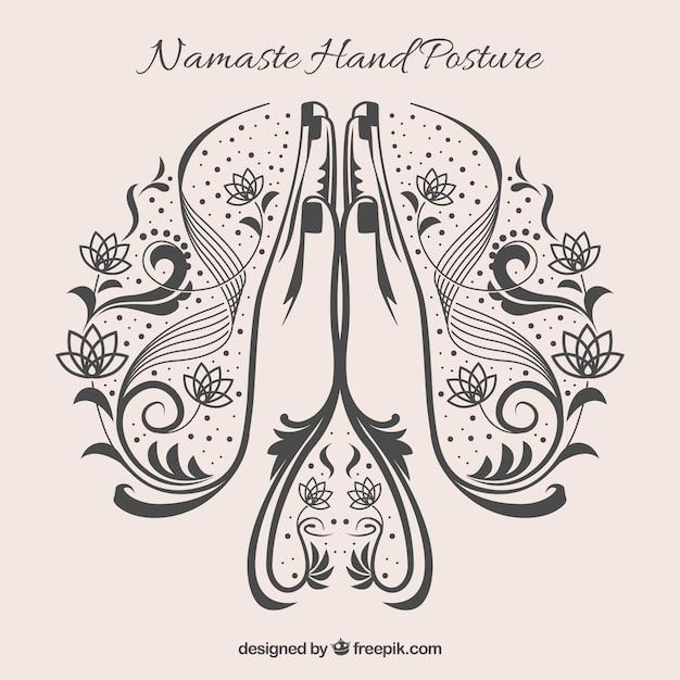 Namaste geste mit originalem stiel Kostenlosen Vektoren