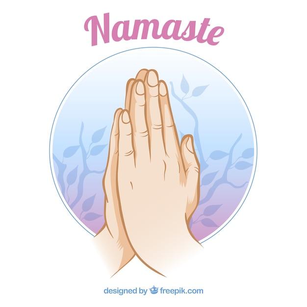 Namaste geste und blätter Kostenlosen Vektoren