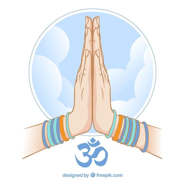 Namaste geste und blauer himmel Kostenlosen Vektoren