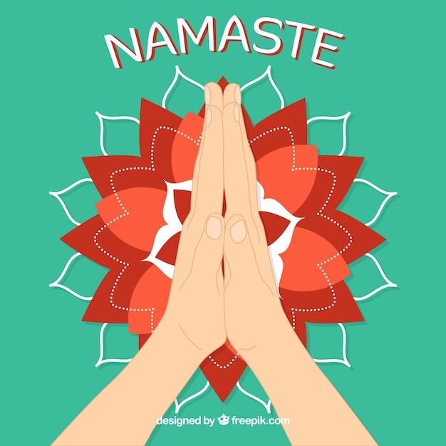 Namaste geste und modernes mandala Kostenlosen Vektoren