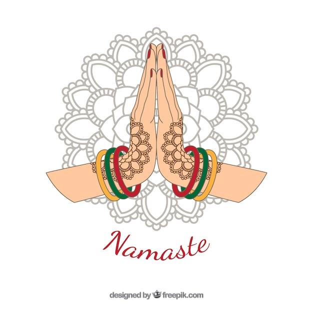 Namaste gruß hintergrund mit hand gezeichneten mandala Kostenlosen Vektoren
