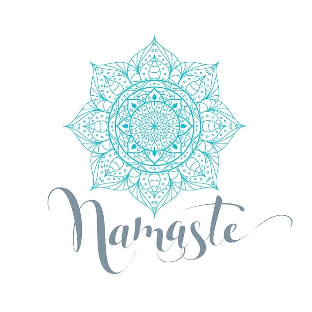 Namaste ist hallo in hindi. lotusblume isoliert Premium Vektoren