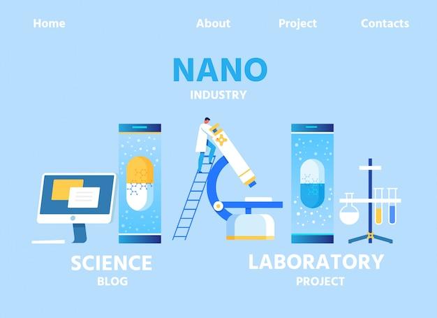 Nano industry landing page für blog und lab center Premium Vektoren