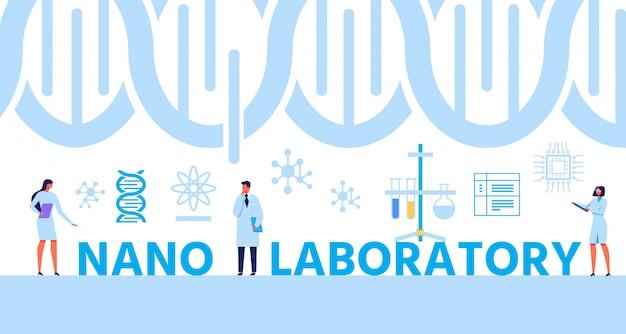 Nano lab text banner mit helix dna und experten Premium Vektoren