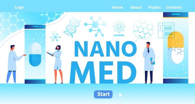Nano med landing page mit platz für logo Premium Vektoren