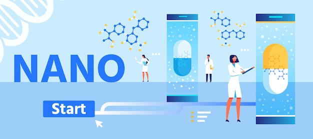 Nano medicines development cartoon landing page Premium Vektoren
