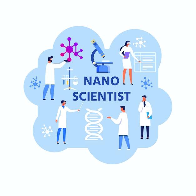 Nano scientist abstract flat illustration Premium Vektoren