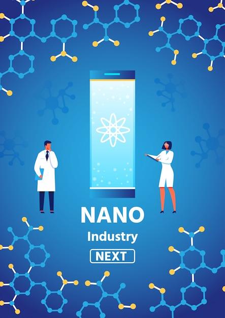 Nanoindustrie, die text auf vertikaler fahne mit mann-forscher und wissenschaftlerin darstellt Premium Vektoren