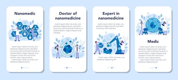 Nanomedic mobile application banner set. wissenschaftler arbeiten im labor für nanotechnologie. nanomedizin heilt und verhindert die behandlung von krankheiten. vektorillustration. Premium Vektoren