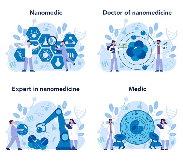 Nanomedizinisches set Premium Vektoren