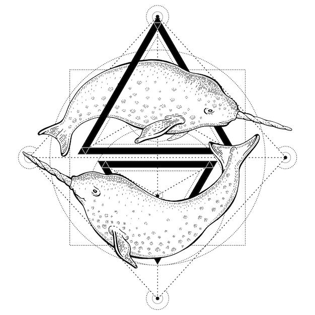 Narwale tätowierung. geometrievektorillustration mit dreiecken und meerestieren. skizzenlogo im hipster-vintage-stil. Premium Vektoren