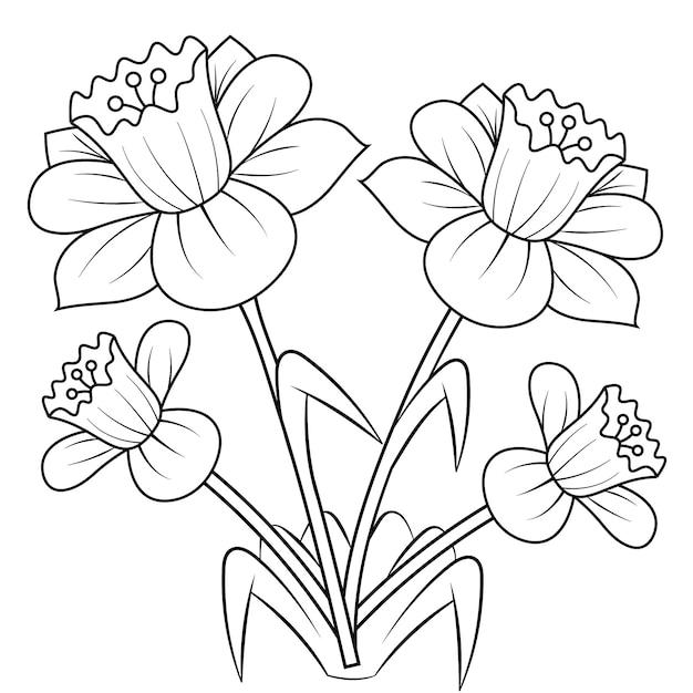 Narzissenblumenmandala für die erwachsenen, die malbuch sich entspannen. Premium Vektoren