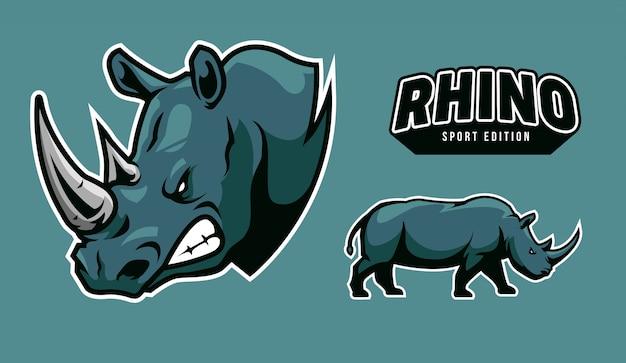 Nashorn logo abbildung Premium Vektoren