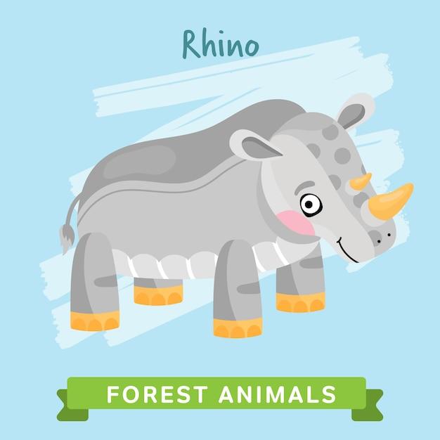 Nashorn, waldtiere. Premium Vektoren