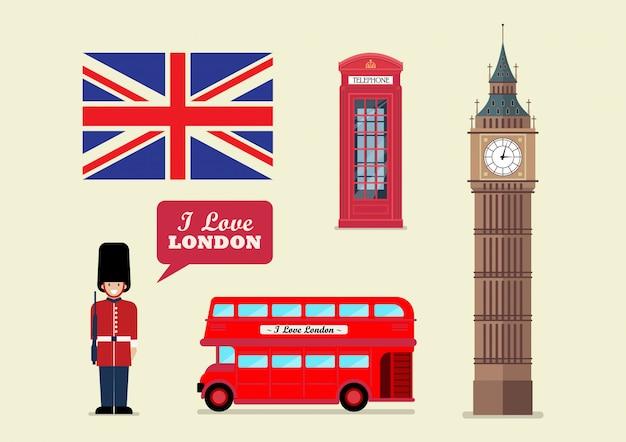 Nationale symbole des touristischen wahrzeichens von london Premium Vektoren