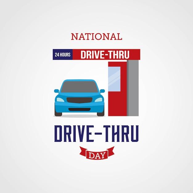 Nationaler drive-thru-tag Premium Vektoren