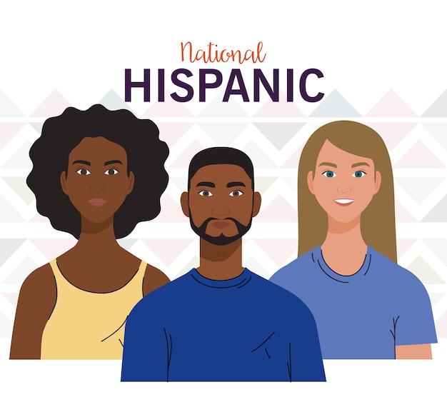 Nationaler monat des hispanischen erbes mit menschen zusammen, vielfalt und multikulturalismus-konzept. Premium Vektoren