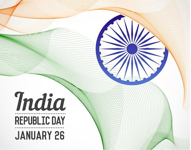 Nationaler tag der republik von indien-land in der mischung zeichnet art-vektor mit datum Premium Vektoren