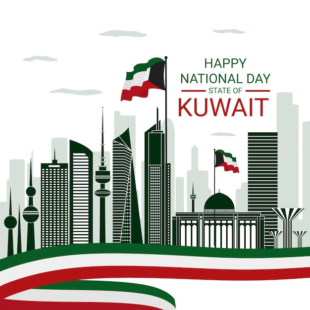 Nationaler tag des flachen designs der stadt kuwait Premium Vektoren