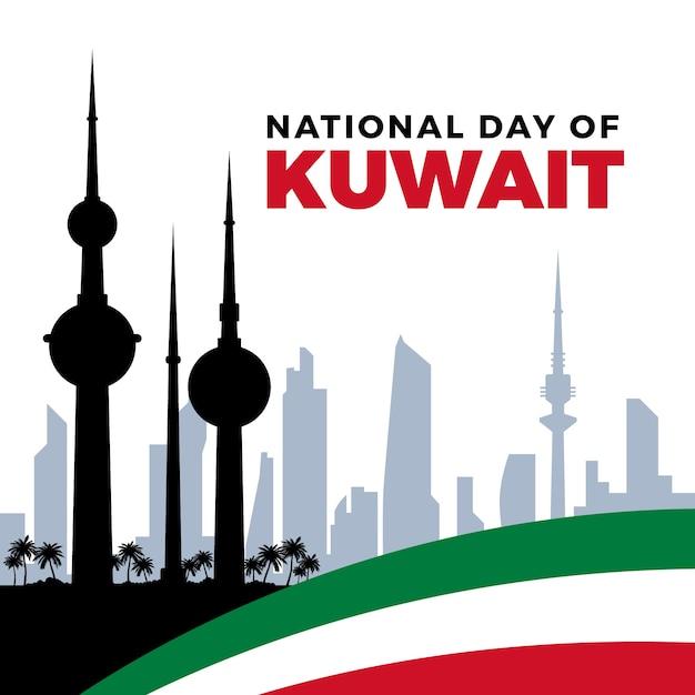 Nationaler tag des flachen entwurfs von kuwait Kostenlosen Vektoren