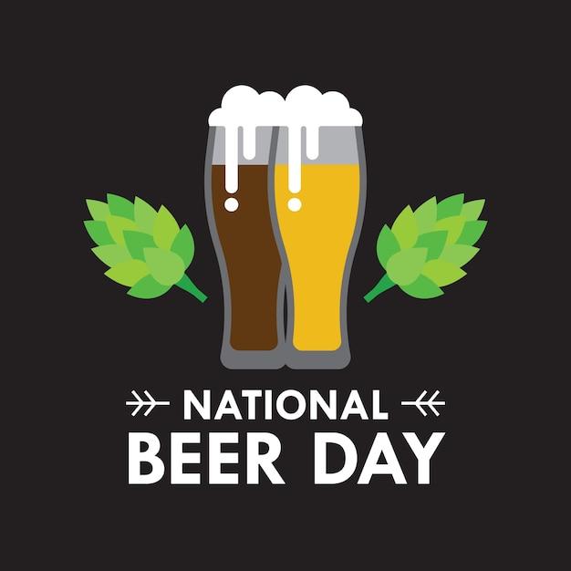 Nationales bier tag vektor-illustration in flachen stil Kostenlosen Vektoren