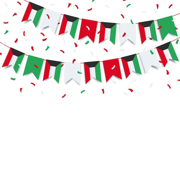 Nationalfeiertag kuwait. girlande mit der flagge von kuwait auf einem weißen hintergrund. Premium Vektoren