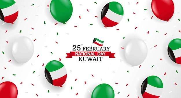 Nationalfeiertag kuwait. hintergrund mit luftballons und konfetti. Premium Vektoren