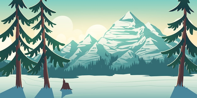 Nationalparkwinterlandschaftskarikaturillustration Kostenlosen Vektoren