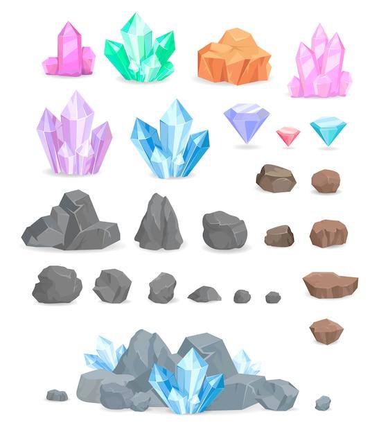 Natürliche kristalle und stein-vektorsatz Premium Vektoren