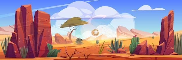 Natürliche landschaft der wüste afrikas mit tumbleweed, die entlang heißer trockener verlassener afrikanischer natur rollt Kostenlosen Vektoren