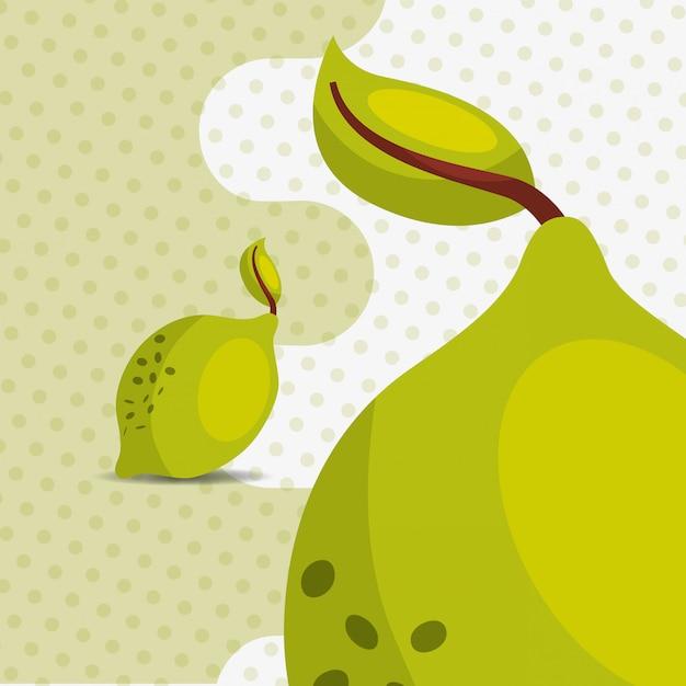 Natürliche zitrone der frischen früchte auf punkthintergrund Premium Vektoren