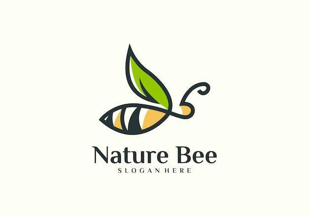 Natürlicher bienenlogovektor Premium Vektoren