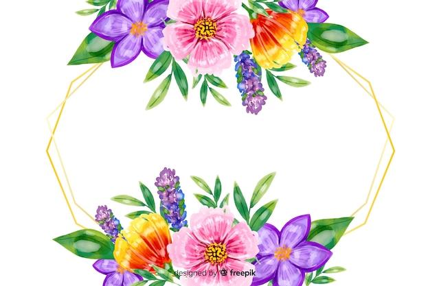 Natürlicher hintergrund mit bunten aquarellblumen Kostenlosen Vektoren