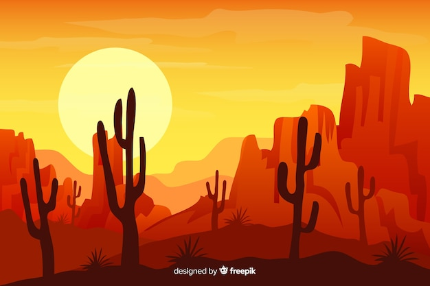 Natürlicher hintergrund mit wüstenlandschaft Kostenlosen Vektoren
