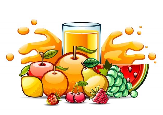 Natürlicher saft und früchte Premium Vektoren