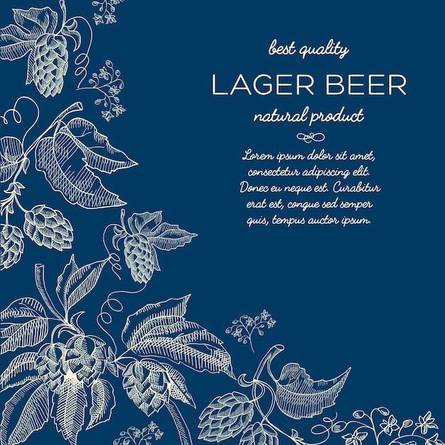 Natürliches abstraktes dekoratives skizzenplakat mit text und bierkräuter-hopfenzweigen auf blau Kostenlosen Vektoren
