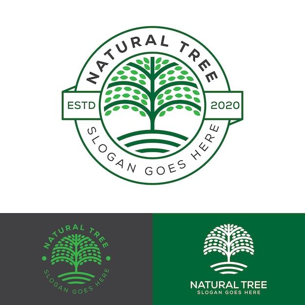 Natürliches bauernhofbaumabzeichenlogo, pflanzenbildungslogovektorvorlage Premium Vektoren