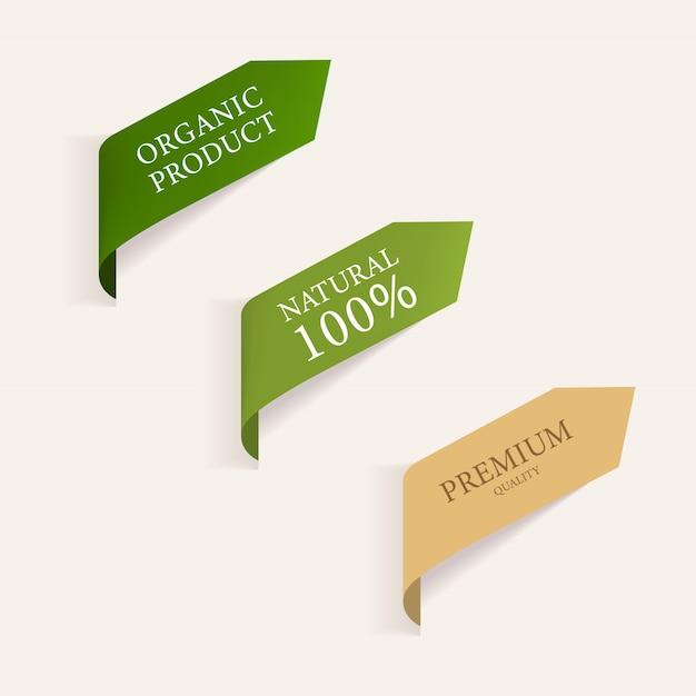 Natürliches etikett und organisches grünes banner. Premium Vektoren