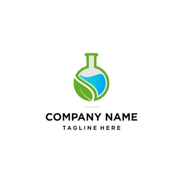 Natürliches grünes laborlogo Premium Vektoren