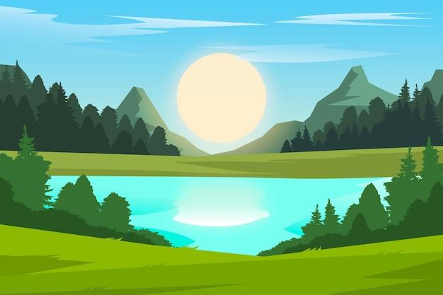 Natürliches landschaftshintergrunddesign Kostenlosen Vektoren