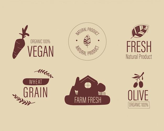 Natürliches logo des frischen lebensmittels des biologischen bauernhofes. Premium Vektoren