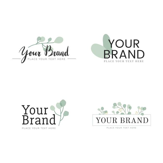 Natürliches logo design set Kostenlosen Vektoren