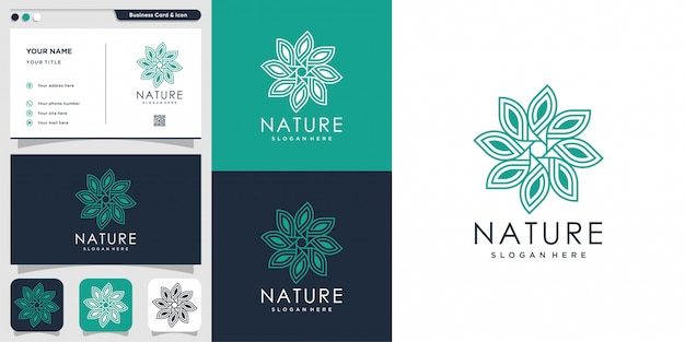 Natürliches logo mit strichgrafikstil und visitenkartenentwurfsschablone, frisch, strichzeichnungen, blume, blatt, abstrakt, Premium Vektoren