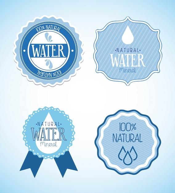 Natürliches wasser über blauer hintergrundvektorillustration Premium Vektoren
