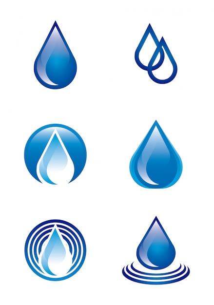 Natürliches wasser über weißer hintergrundvektorillustration Premium Vektoren