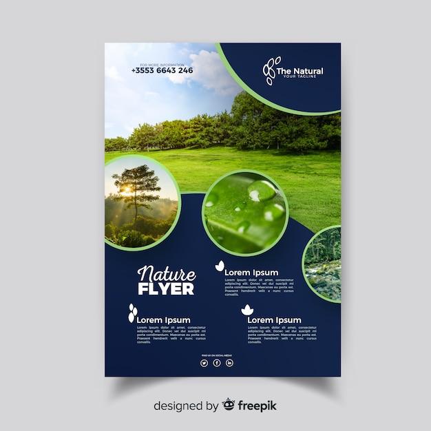 Natur Flyer Vorlage mit modernem Design Kostenlose Vektoren