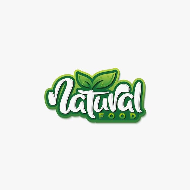 Natural food typografie logo oder etikettendesign Premium Vektoren