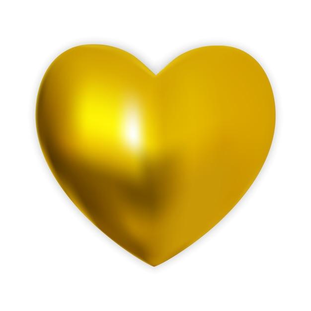 Naturalistisches buntes goldenes herz 3d auf einem weiß. Premium Vektoren