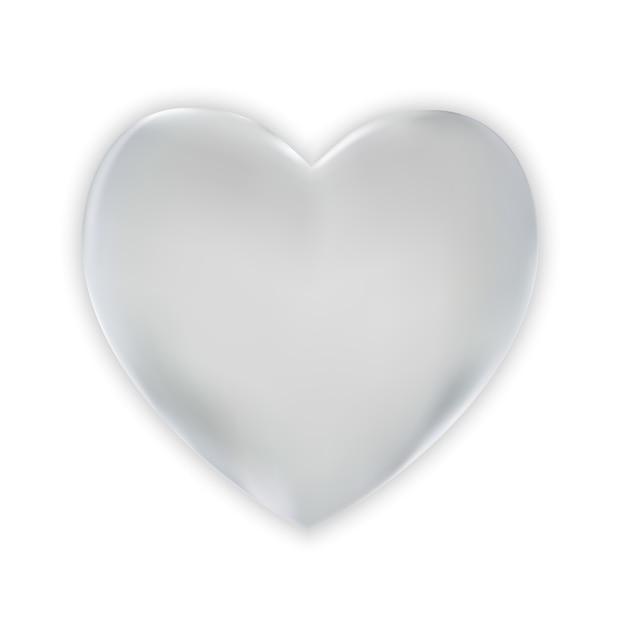 Naturalistisches buntes silbernes herz 3d auf einem weiß. Premium Vektoren