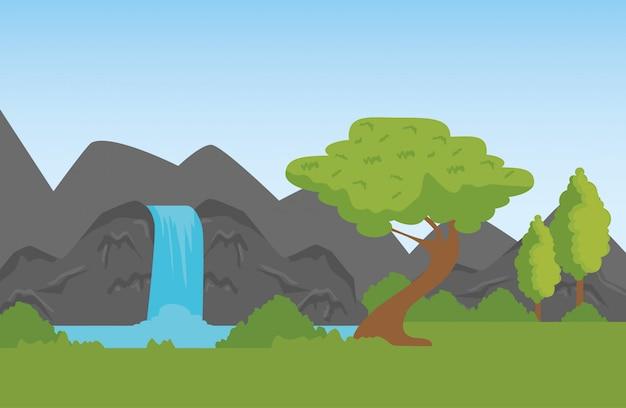 Naturberge mit wasserfall zum naturschutzgebiet Kostenlosen Vektoren